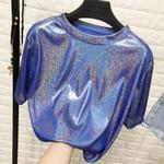 New retro style stylish bright silk tops shiny loose short sleeve t-shirt
