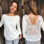 New Fashion Backless Lace Sheer Long Sleeve Embroidery Floral