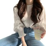 white  lace chiffon blouse shirt long sleeve tops and blouses