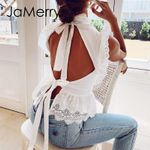 Backless lace embroidery white tank tops Ruffled hollow