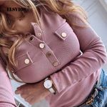 New Elegant Metal Button Shirts Blouse Solid Long Sleeve
