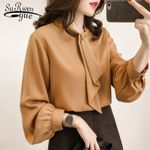 fashion chiffon blouse shirt long sleeve bow collar OL blouse plus size