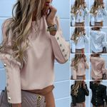 Blouses Long Sleeve Back Metal Buttons Shirt Casual O Neck