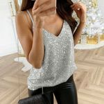 Tank Top Sequin Strappy Tops Sexy Camis V-neck Sleeveless Vest