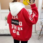 Pullover Sweatshirts Kpop Letter Print Oversized Hoodie Fashion