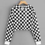 Sudadera Sweatshirt Black White Plaid Short Hoodies
