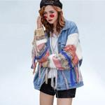Spring coat Knitted Sleeve Tassel Outwear Colorful Patchwork Denim Jacket