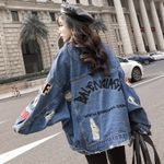 Loose Denim Jeans Coat Hip Hop Hole Single Breasted Jeans Jacket