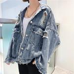 Fashion Outerwear Tops Broken hole Denim Jacket