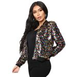 Casual Zip Up Basic Sequin Jacket Bomber Jacket Colorful Sequin