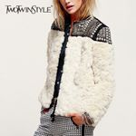 Fleece Rivet Coat Faux Fur Patchwork Long Sleeve Thick Cardigan
