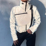 Reflective Stitching Long Sleeve Pocket Jacket