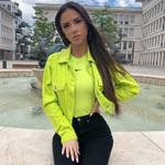New Corduroy Long Sleeve Crop Jacket Neon Green Slim