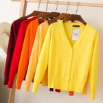 knitted cardigans spring cardigan  casual long sleeve tops V neck