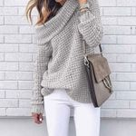 Off Shoulder Sweater Pullover Sweater Warm Knitted Sweater