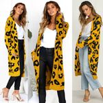 Sexy Leopard Knitted Long Cardigan Sleeve Sweater Overcoat