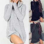 Chic Solid Color Turtleneck Long Sleeve Casual Loose Knitted Sweater
