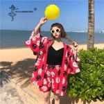 Beach Travel Thin Japanese Style kimono Coats Wide Leg Shorts