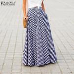 Plus Size Retro Plaid Check Long Skirts