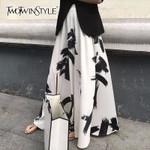Print Split High Waist Elastic Large Size X Long Elegant Skirts