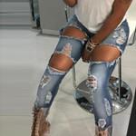 Casual Low Jeans Pencil Style Long Boyfriend Pants