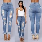 Style Cotton Pants fall Jeans Casual Denim Pencil Ripped