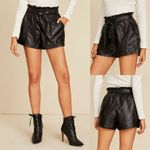 Shorts Black Leather Wet Look High Waist  Paper Bag
