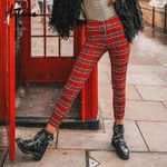 streetwear red plaid pants spring high waist zipper skinny