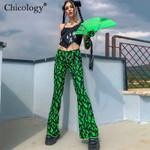 green fire print flare pants high waist bell bottom sexy