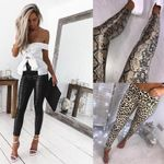 Black PU Leather Leggings and Casual Polyester Leopard