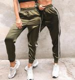 Fashion High Waist Striped Track Pants Elegant Fitness Stretch Party Club