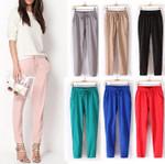 Pants Linen Cotton Casual Harem Candy Color Green Trousers