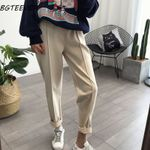 Spring Thicken Pencil Pants Plus Size Wool Pants High Waist Loose