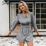 Buttons blazer playsuit Sash solid office jumpsuit romper