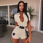 Rompers Jumpsuit Label Turn-down Collar  Short Sleeve