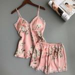 Pajamas Sets Sexy Satin Lace V-Neck Sleeveless