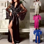 Pajamas Satin Long Nightdress Silk Lace Lingerie Sleepwear