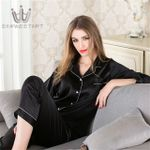 Silk Pajama Sets Satin Pyjama Sleepwear Long Sleeve Large