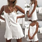 Playsuits Jumpsuit Short Cotton Linen Casual Ruffles  strap boho Sexy Rompers