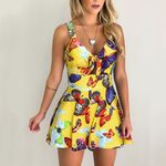 Printed Sleeveless V-Neck Bow Knot Jumpsuit Playsuit