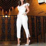 New Fashion Ruffles Neck High Waist Clubwear Jumpsuit Playsuit