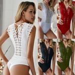 Sexy Bandage Lace Bodysuit Elegant High Cut Leotard V Neck Romper
