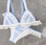 Splice lace swimsuit Push up swimwear biquinis Triangle ruffled bikinis
