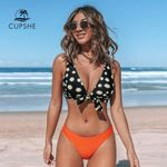 Knotted V-Neck Bikini Sets Sexy Padded Cups Mid-waisted Swimsuit