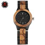 Pure Ebony Wood Bangle Watch Quartz Movement Elegant