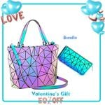 Shoulder Bags Fashion Luminous Top-Handle Hologram Geometric