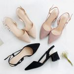 Hot Square High Heels Shoes  Flock Ankle Straps Slingback