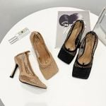 Vintage Square Toe Stretch Pumps Gold Chain High Heels