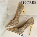 Pumps High Heels Wedding Shoes Sequins Leather