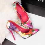 stiletto floral pointed single high heels  shoes